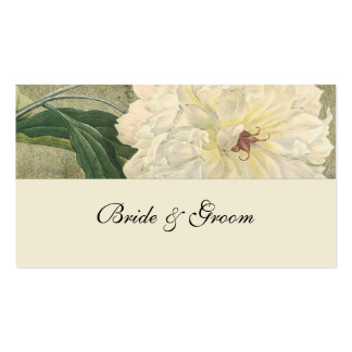 Vintage Botanical White Peony Place Cards Business Card Template