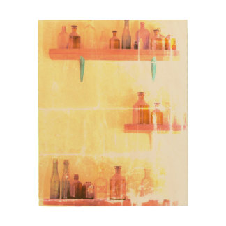VINTAGE BOTTLES 8 x 10 Wood Wall Art Wood Print