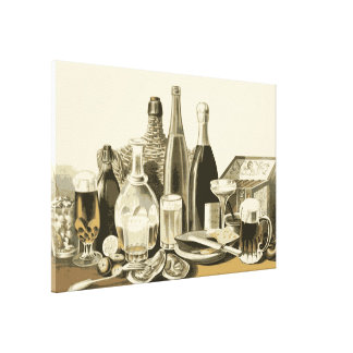 Vintage Bottles of Alcohol Gallery Wrapped Canvas