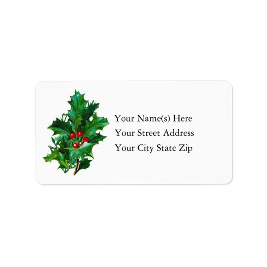 Vintage Bough of Holly Christmas Address Label
