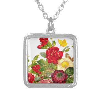 Vintage Bouqet of flowers Square Pendant Necklace