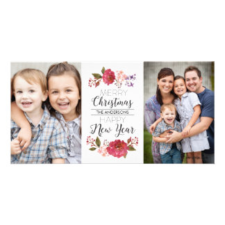 Vintage Bouquet Christmas Holiday Personalized Photo Card