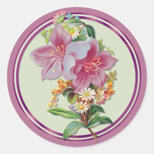 Vintage Bouquet Classic Round Sticker