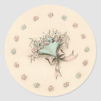 Vintage Bouquet Classic Round Sticker