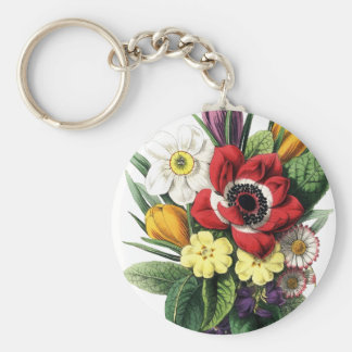 Vintage Bouquet Colorful Flowers Display Keyring Key Chain