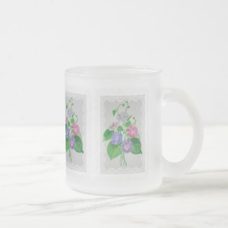Vintage Bouquet Frosted Glass Mug