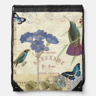 Vintage Bouquet of Flowers, Birds and Butterflies Drawstring Bag