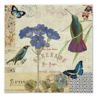 Vintage Bouquet of Flowers, Birds and Butterflies Poster
