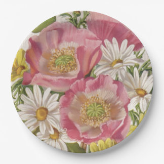 Vintage Bouquet with Daisies Paper Plate