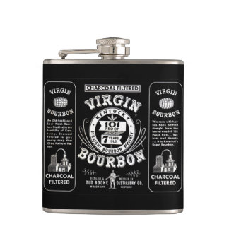 Vintage Bourbon Label Hip Flask