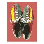 Vintage Bowling Shoes Retro Bowling Shoe Post Card