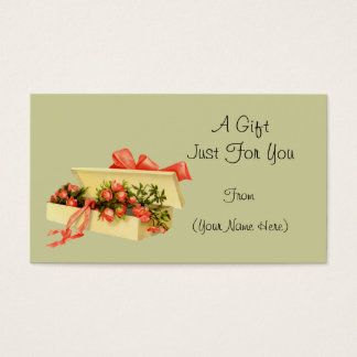 Vintage Box Of Roses Personalized Gift Card Tag