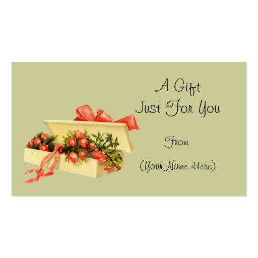 Vintage Box Of Roses Personalized Gift Card Tag Business Cards