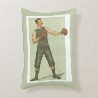 Vintage Boxer with Long Green Trunks Decorative Cushion