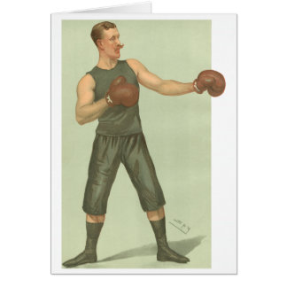 Vintage Boxer with Long Green Trunks Greeting Card