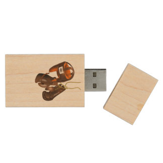 Vintage Boxing Gloves and Helmet Wood USB 2.0 Flash Drive