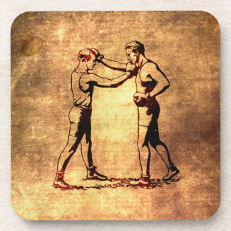 Vintage boxing men coaster