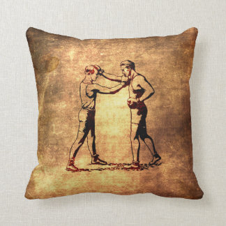 Vintage boxing men throw pillow