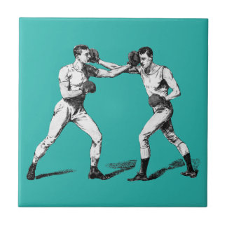Vintage Boxing Small Square Tile