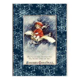 Vintage Boy/Aeroplane Christmas Postcard