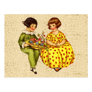 Vintage Boy and Girl Postcard