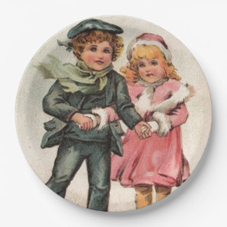 Vintage Boy and Girl Skaters 9 Inch Paper Plate