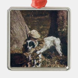 Vintage Boy and His Hunting Dog Christmas Ornament