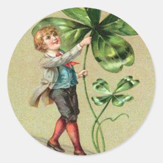 Vintage Boy Four Leaf Clover St Patrick's Day Card Round Sticker