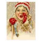 vintage boy in the snow postcard