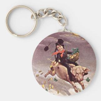 Vintage Boy on Pig Basic Round Button Key Ring