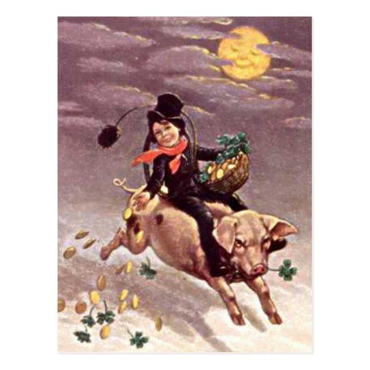 Vintage Boy on Pig Postcard