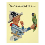 Vintage Boy Pirate Parrot, Child Birthday Party Personalised Invites