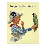 Vintage Boy Pirate Parrot, Child Birthday Party Custom Invitations