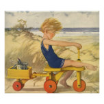 Vintage Boy Playing at the Beach with Sand Toys