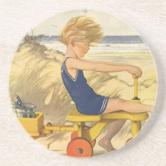 Vintage Boy Playing at the Beach with Sand Toys Beverage Coasters