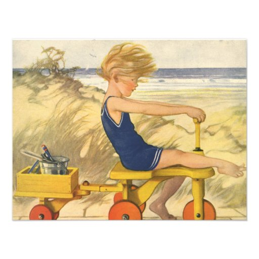 Vintage Boy Playing on the Beach Birthday Party Personalized Invitations