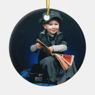vintage boy round ceramic decoration