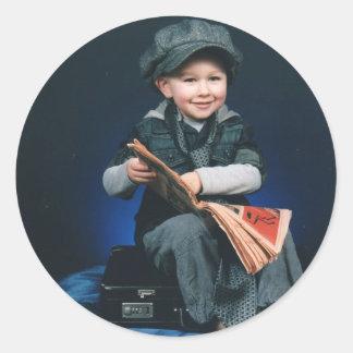 vintage boy round sticker