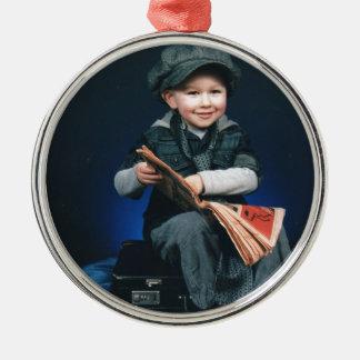 vintage boy Silver-Colored round decoration