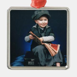 vintage boy Silver-Colored square decoration