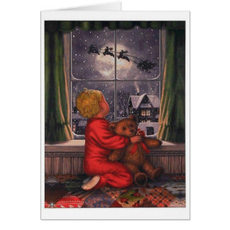 Vintage Boy Watching Santa Claus Fly Over Card
