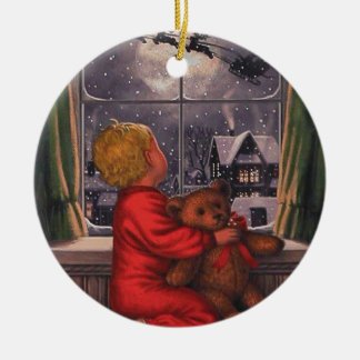 Vintage Boy Watching Santa Claus Fly Over Christmas Ornament