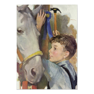 Vintage Boy with His Blue Ribbon Winning Horse Card