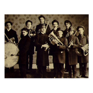 Vintage Boys Brass Band Warsaw Indiana Postcard