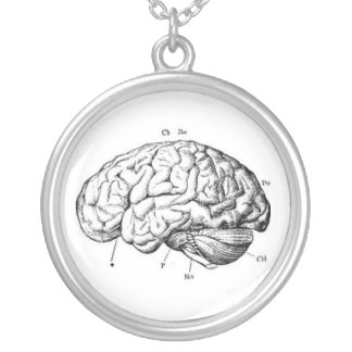 Vintage Brain Anatomy Silver Plated Necklace