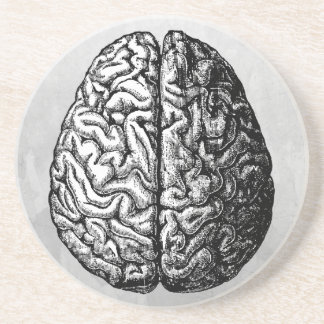 VINTAGE BRAIN DRAWING COASTER