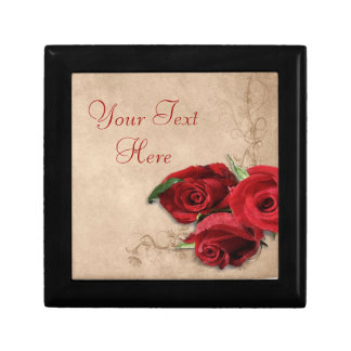 Vintage Brandy Rose Small Square Gift Box