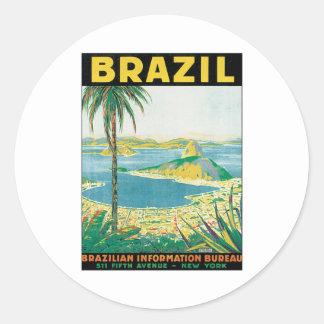 Vintage Brazil Classic Round Sticker