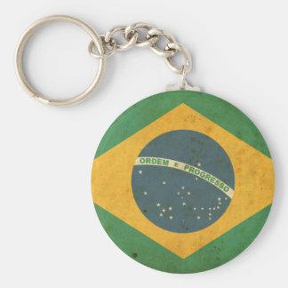 Vintage Brazil Flag Basic Round Button Key Ring