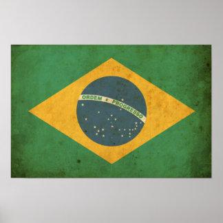 Vintage Brazil Flag Poster